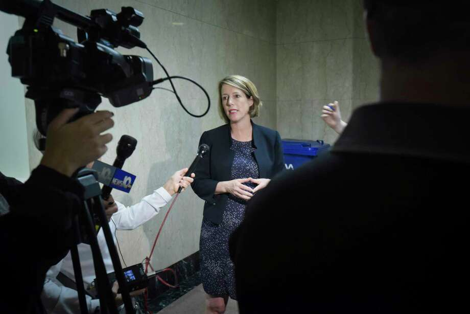 Zephyr Teachout, candidate for Attorney General of New York, talks to members of the press at the Capitol on Monday, Sept. 10, 2018, in Albany, N.Y.  (Paul Buckowski/Times Union) Photo: Paul Buckowski, Albany Times Union / (Paul Buckowski/Times Union)