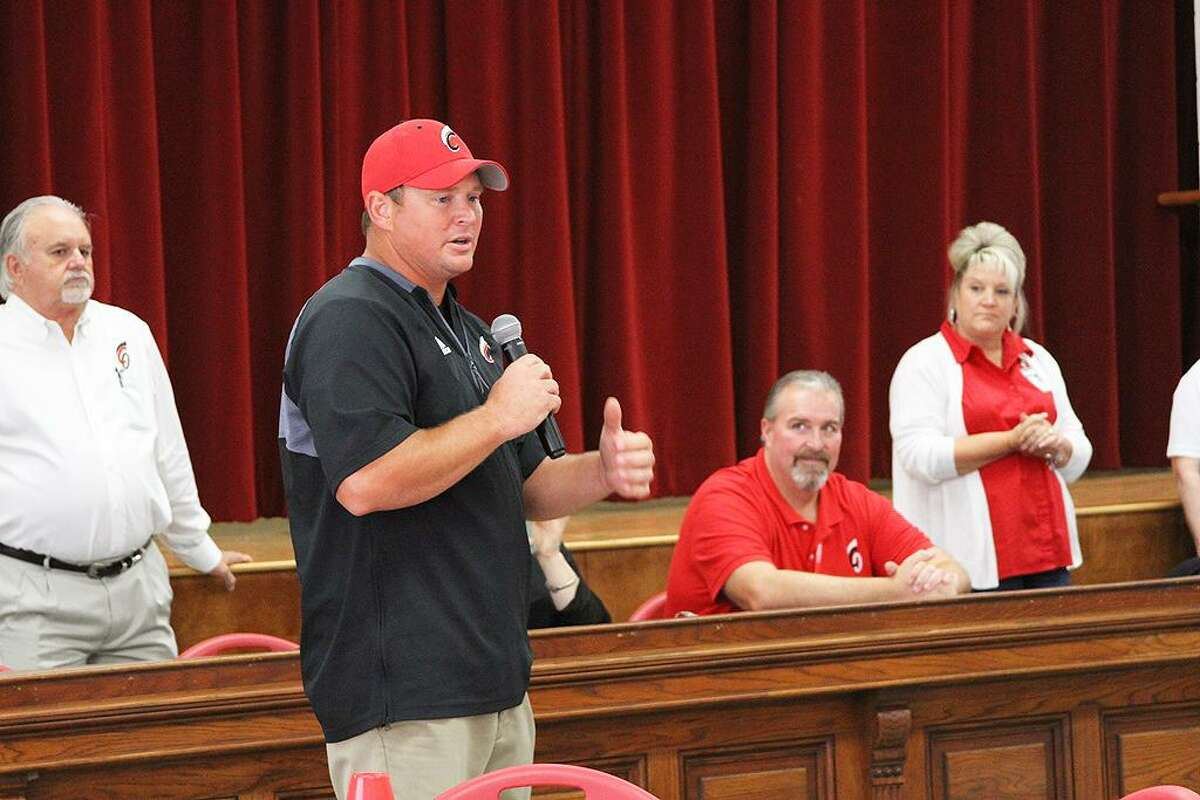 Athletic Director and Head Football Coach Jim Bird discussed his coaching philosophy and background at the 3rd Annual Golden Trojans Reception and Fall Sports Preview on Friday, Sept. 7.