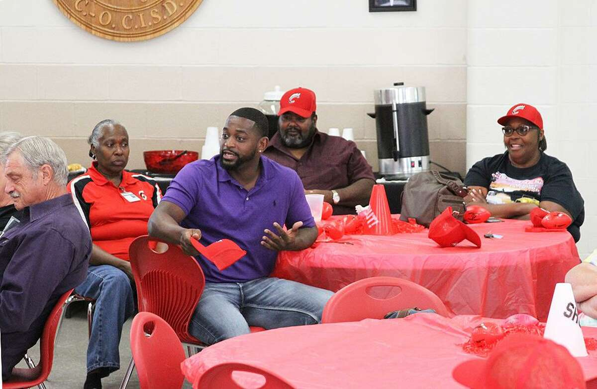 Coldspring-Oakhurst High School Alum Curtis Sparks discusses the importance of good coaching and his years as a Coldspring athlete during the Q& session at the 3rd Annual Golden Trojans Reception and Fall Sports Preview on Friday, Sept. 7.
