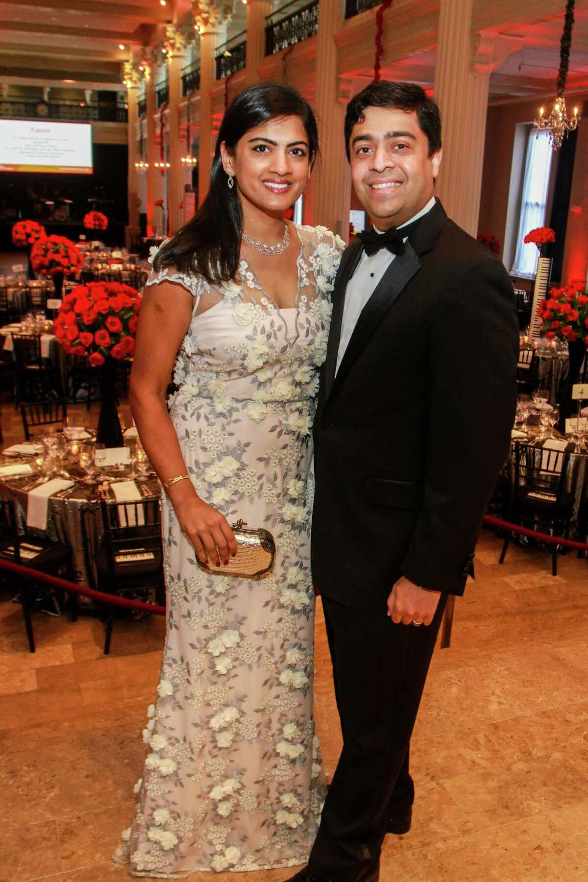 Ishwaria and Vivek Subbiah at the Corinthian for the Houston Symphony Opening Night Concert & Gala.