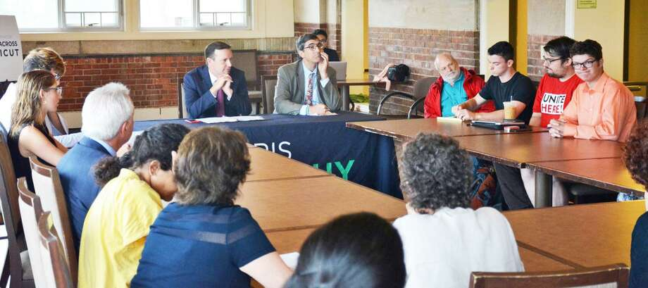 U.S. Sen. Chris Murphy, D-Connecticut, a member of the U.S. Senate Health, Education, Labor and Pensions Committee, hosted a health care roundtable Friday at the Wesleyan University Allbritton Center for the Study of Public Life in Middletown. Photo: Contributed Photo