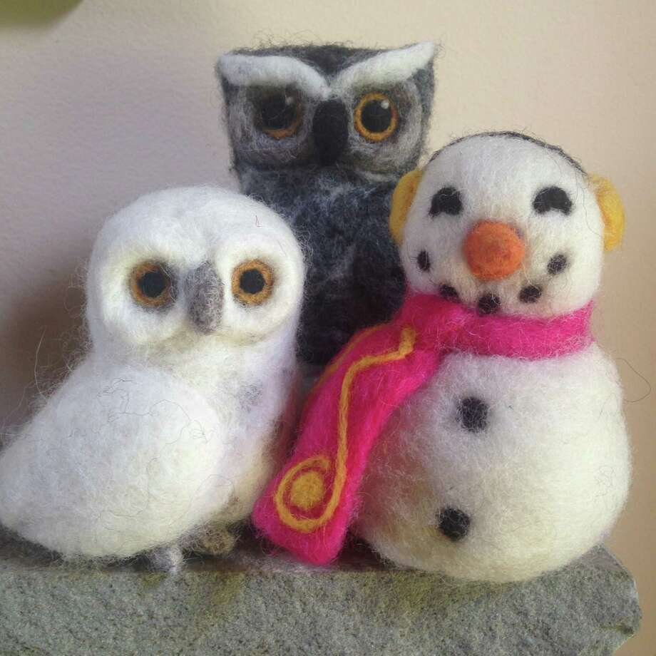 Participants in Flanders Nature Center's needle felting classes can learn to make felted dogs, then owls and snowmen. Photo: Contributed Photo