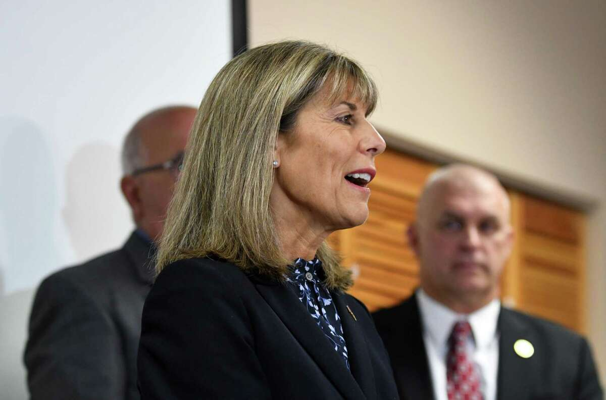 Daphne Jordan, a Republican representing the 43rd State Senate District, speaks during a press conference with area sheriffs on Sept. 10 2018, at the Rensselaer County Jail in Troy, N.Y. (Will Waldron/Times Union)