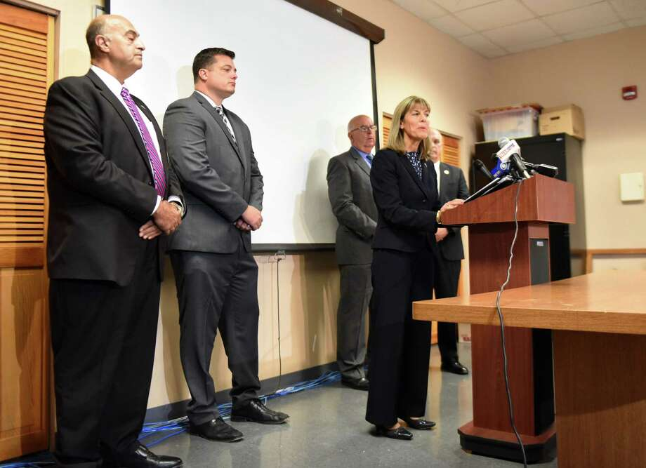 Halfmoon Councilwoman Daphne Jordan, a Republican candidate for New York's 43rd State Senate District, speaks during a press conference with area sheriffs where she proposed legislation to curtail Gov. Cuomo's policy of allowing convicted sex offenders to vote at school polling places after 7 p.m. on Monday, Sept. 10 2018, at the Rensselaer County Jail in Troy, N.Y.  The executive order was signed earlier this year. (Will Waldron/Times Union) Photo: Will Waldron, Albany Times Union