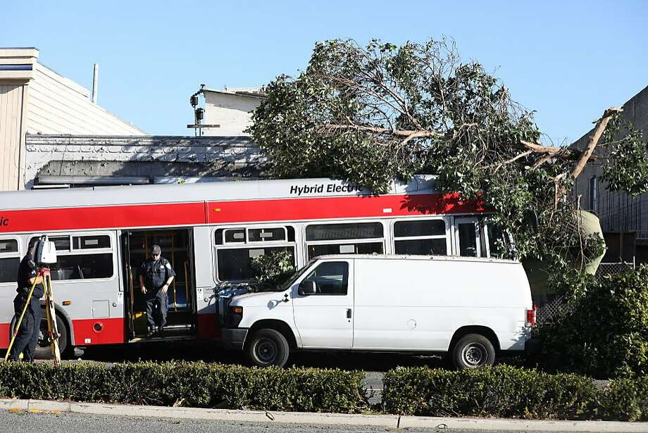 Police officers investigate the scene where a Muni bus  crashed into a store on Lombard Street on Monday, September 10,  2018 in San Francisco, Calif. Photo: Lea Suzuki, The Chronicle