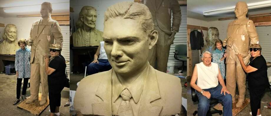PHOTOS: Judge Roy Hofheinz's statue coming together