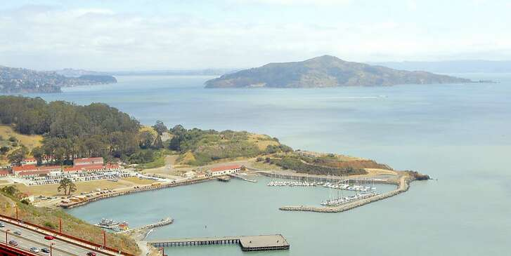 An overlook of Fort Baker, located along the deep cove just inland from the northern foot of the Golden Gate Bridge in Marin