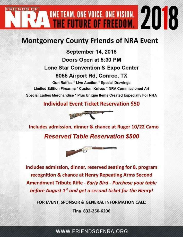 Montgomery County Friends of NRA will host a fundraising event on Friday, Sept. 14 starting at 5:30 p.m. at the Lone Star Convention Center. Photo: Courtesy Of Friends Of NRA