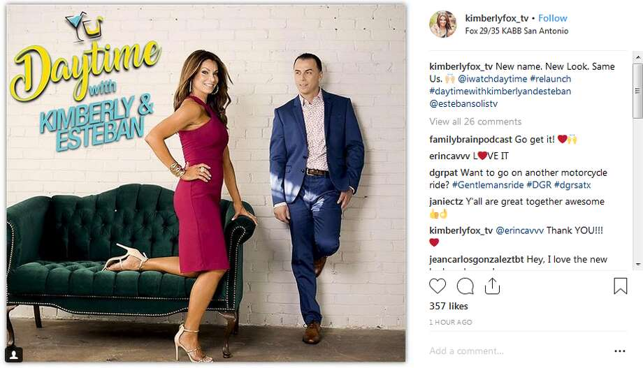 "KABB's Kimberly Crawford helped promote the relaunch of the station's 9 a.m. show, which features the new ""Daytime with Kimberly & Esteban"" name, with this Instagram post. Photo: Twitter, Instagram Screengrabs"