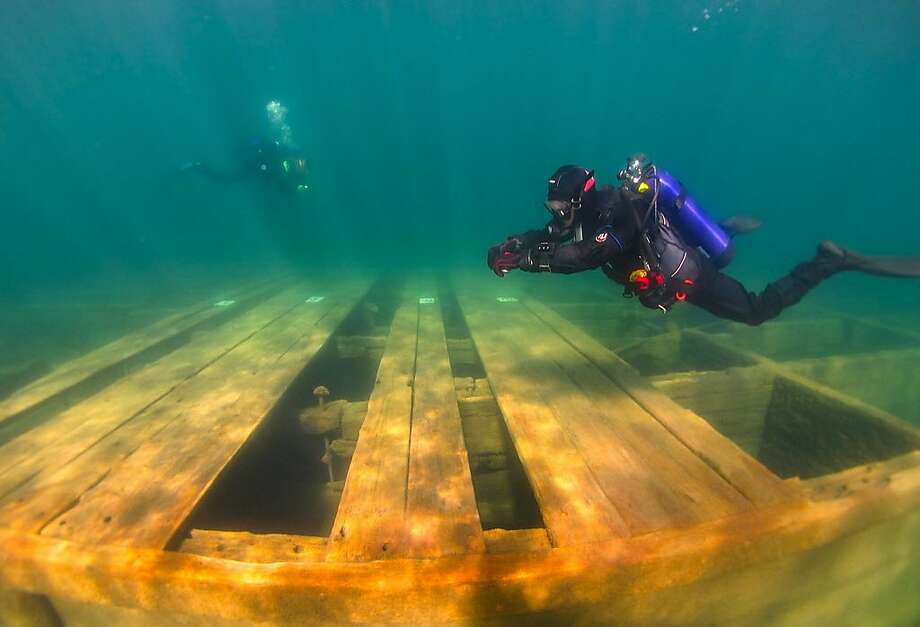 A new state park designated underwater trail at Emerald Bay State Park at Lake Tahoe includes the largest collection of sunken boats in America Photo: Mylana Haydu, Center For Underwater Science, Indiana University