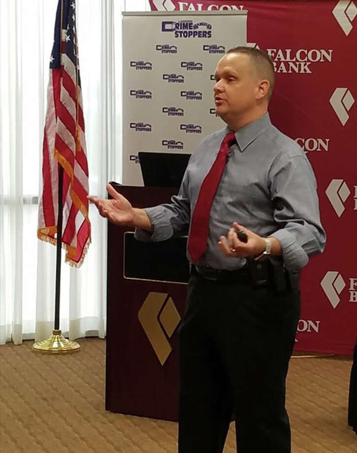 J.B. Smith, past chairman of the Texas Crime Stoppers Council, speaks in Laredo. Photo: Laredo Morning Times