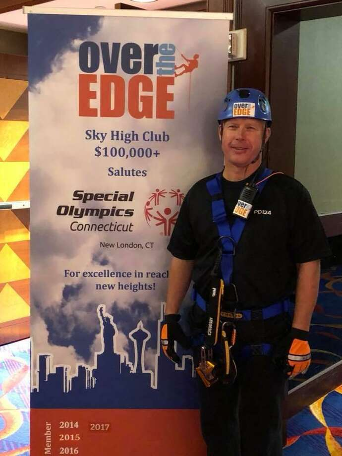 Seymour Police Chief Paul Satkowski took part in a Special Olympics fundraiser at Mohegan Suns Casino's Sky Tower building. Photo: Contributed Photo / Seymour Police Department