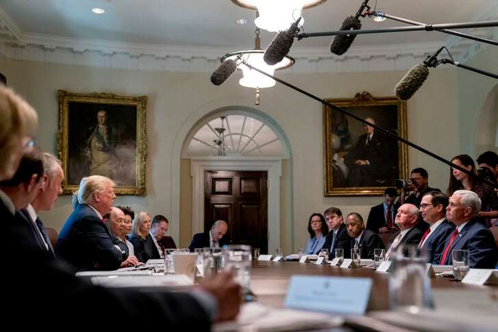 """President Donald Trump speaks Aug. 16 during a cabinet meeting at the White House. Trump administration officials were quick to scratch their names off the list of potential authors of an unsigned New York Times opinion piece by a member of the so-called resistance working to thwart """"reckless decisions,"""" but that piece and other evidence point to a president unfit for office."""