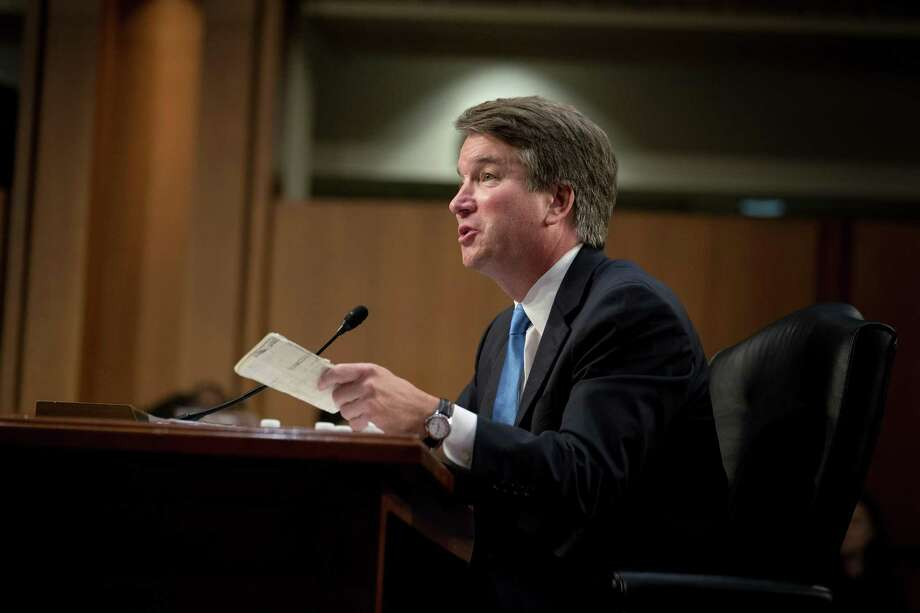 Judge Brett Kavanaugh, President Donald Trump's Supreme Court nominee, during his Senate Judiciary Committee confirmation hearing, on Capitol Hill Sept. 5.Kavanaugh has stated that affirmative action policies depart from the protections of the 14th  Amendment. Photo: ERIN SCHAFF /NYT / NYTNS