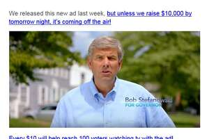 A screen grab of an email plea from Amy Stefanowski, Bob Stefanowski's wife, to potential contributors. The email said Stefanowski's newest ad could be pulled off the air if he doesn't raise $10,000 by Monday night.