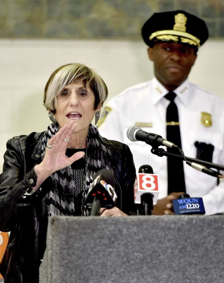 U.S. Rep. Rosa DeLauro, D-3, ranking member of the Labor, Health and Human Services, and Education Appropriations Subcommittee, holds a press conference Monday morning at Wilbur Cross High School in New Haven denouncing reports that U.S. Department of Education Secretary Betsy DeVos believes states should make the decision about using federal funds to arm teachers. Photo: Peter Hvizdak / Hearst Connecticut Media / New Haven Register