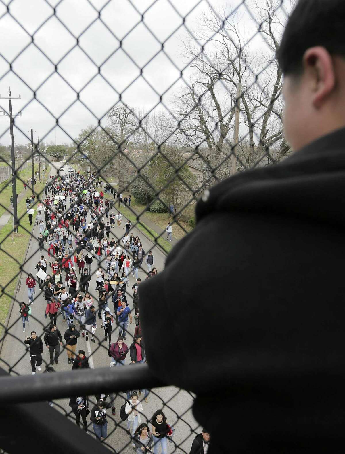 Austin High School students protest the ICE detention of Dennis Rivera, a student from their school on Wednesday, Feb. 14, 2018, in Houston. ( Elizabeth Conley / Houston Chronicle )