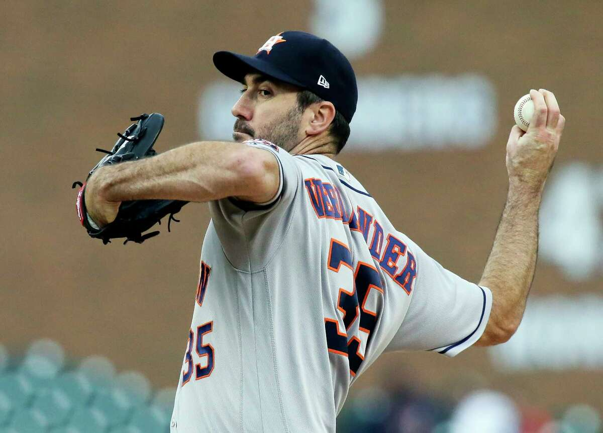 Houston Astros starting pitcher Justin Verlander (35) pitches against the Detroit Tigers during the first inning of a baseball game, Monday, Sept. 10, 2018, in Detroit. (AP Photo/Duane Burleson)