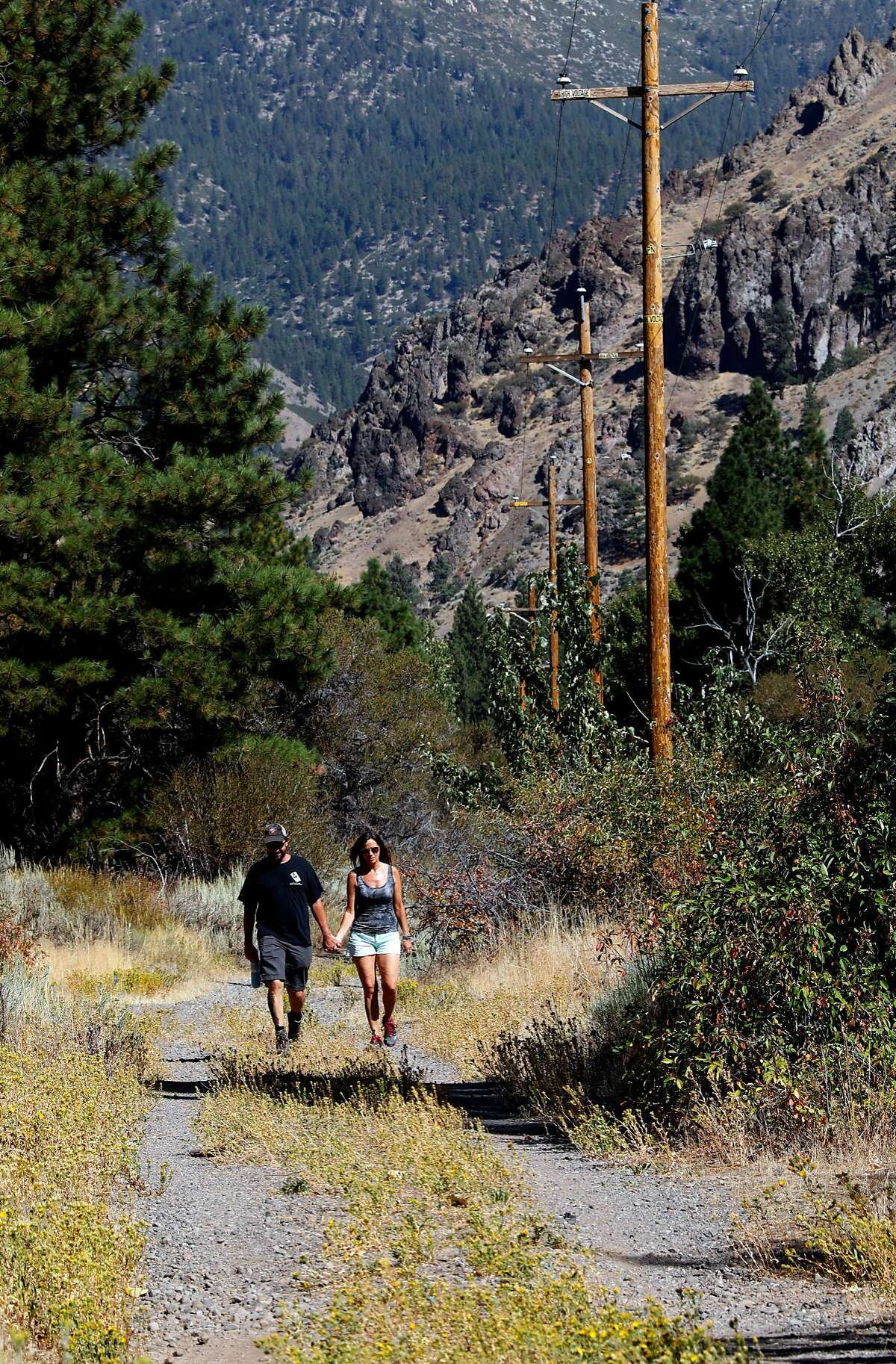 Mike and Patty Dewey of Reno, Nv.enjoy a hike along the Tahoe-Pyramid Bikeway between Floriston and Farad, Calif., as seen on Thurs. Sept. 6, 2018.