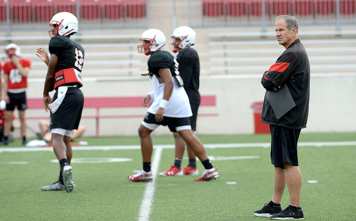Lamar head coach Mike Schultz observes as the Cardinals run drills during practice to prepare for Saturday's home season opener against Kentucky Christian University. Tuesday, August 28, 2018 Kim Brent/The Enterprise