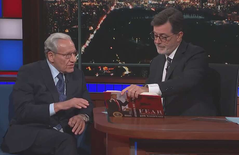 "Bob Woodward was interviewed by Stephen Colbert on ""The Late Show."""