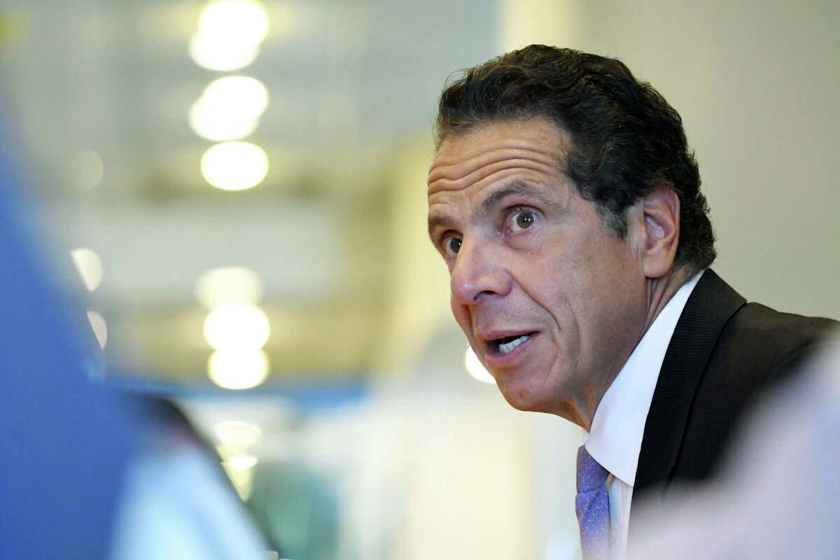 Gov. Andrew Cuomo speaks to the Times Union editorial board on Tuesday, Sept. 4 2018, at the Times Union in Colonie, N.Y. (Will Waldron/Times Union)