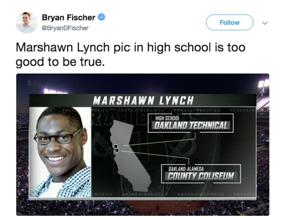 ESPN used a high school photo of Marshawn Lynch during its broadcast and Twitter users couldn't get enough of it. Photo: Twitter