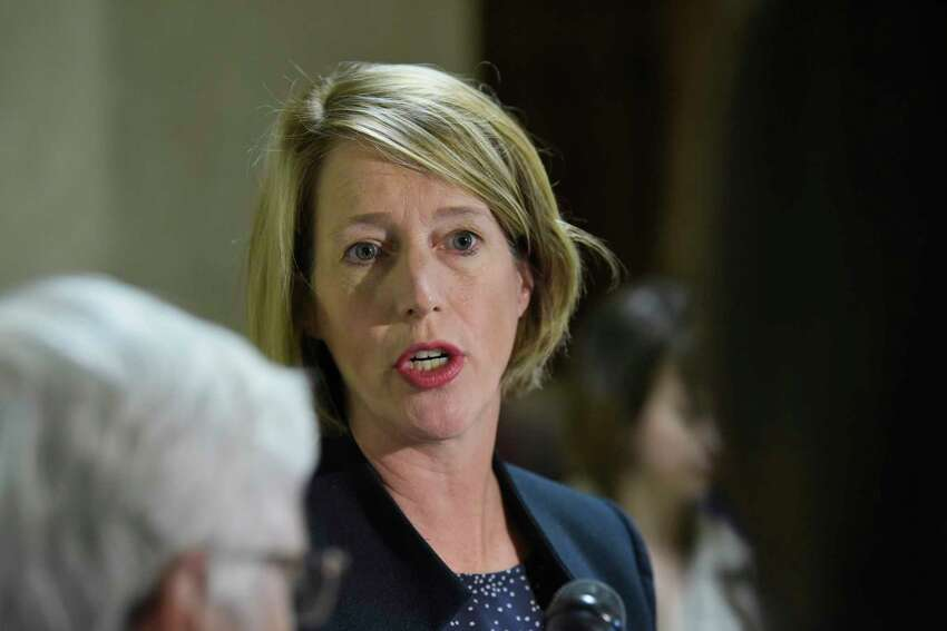 Zephyr Teachout, candidate for Attorney General of New York, talks to members of the press at the Capitol on Monday, Sept. 10, 2018, in Albany, N.Y. (Paul Buckowski/Times Union)