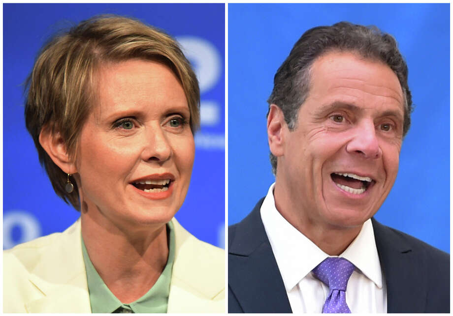 FILE - In this combination of file photos, New York gubernatorial candidate Cynthia Nixon, left, speaks during a Democratic primary debate in Hempstead, N.Y., on Aug. 29, 2018, and Gov. Andrew Cuomo speaks at a press conference in New York on July 18, 2018. (J. Conrad Williams Jr./Newsday Pool, and Evan Agostini/Invision, File) / Newsday