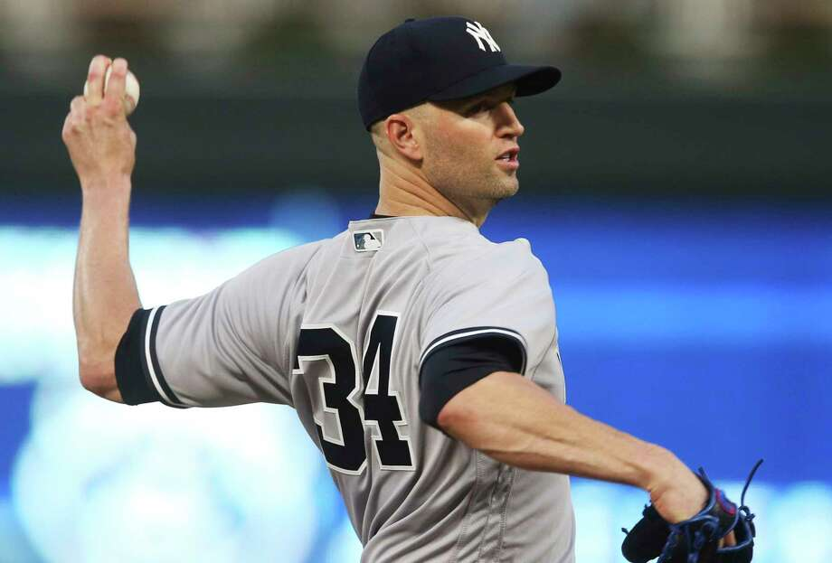 New York Yankees pitcher J.A. Happ throws against the Minnesota Twins in the first inning of a baseball game Monday, Sept. 10, 2018, in Minneapolis. (AP Photo/Jim Mone) Photo: Jim Mone / Copyright 2018 The Associated Press. All rights reserved.