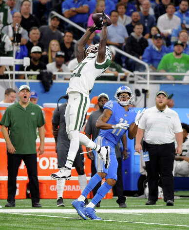 New York Jets defensive back Morris Claiborne (21) intercepts a pass intended for Detroit Lions wide receiver Marvin Jones (11) during the first half of an NFL football game in Detroit, Monday, Sept. 10, 2018. (AP Photo/Jose Juarez) Photo: Jose Juarez / Copyright 2018 The Associated Press. All rights reserved