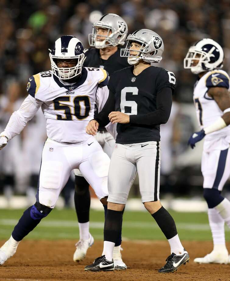 Oakland Raiders' Mike Nugent watches his successful 48-yard field goal in 2nd quarter against Los Angeles Rams during NFL game at Oakland Coliseum in Oakland, Calif. on Monday, September 10, 2018. Photo: Scott Strazzante / The Chronicle
