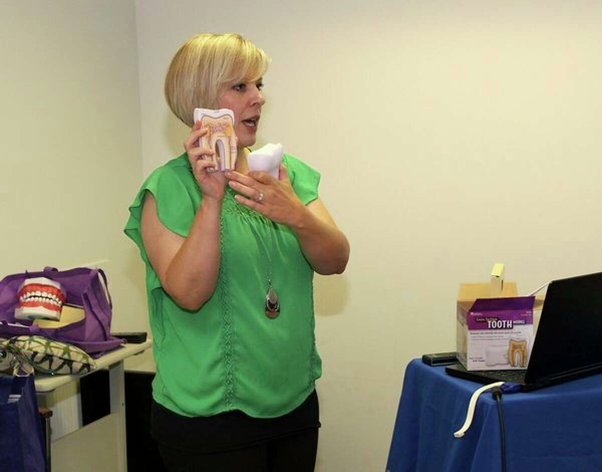 Holli Seabury, CEO of McMillen Health, leads a training for county health workers in Gladwin. (Photo provided)