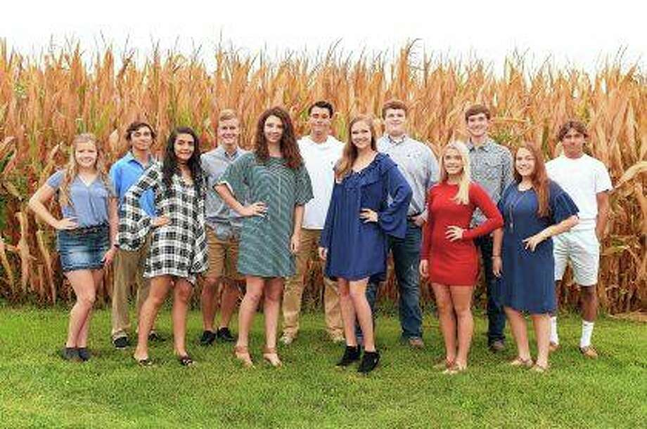 The homecoming court for Jacksonville High School is Molly Carmody (from left), Trevor Huston, Sadikshya Ghimire, Adam Schumacher, Myka Thies, Drew Keller, Chloe Burrus, Austin Dufelmeier, Sarah May, Luke Hadden, Olivia Bobb and Zack Belford. Photo: Photo Provided