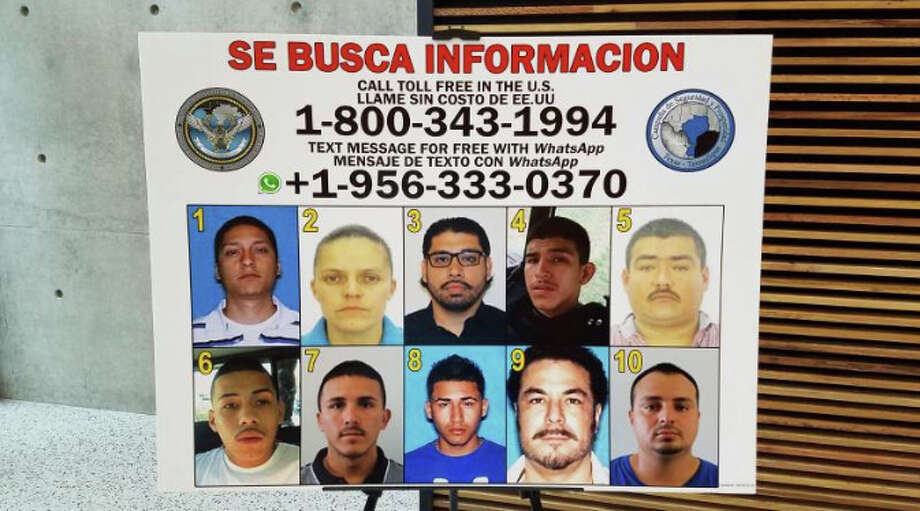 As part of the Campaña de Seguridad y Prosperidad, authorities will place posters like this one in visible areas at the ports of entry for pedestrians and motorists. Anyone who recognizes an individual can call those numbers. Photo: César G. Rodriguez/ Laredo Morning Times