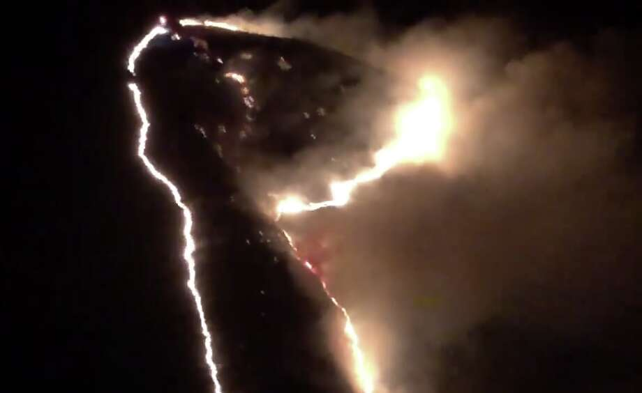 California Highway Patrol Golden Gate Division helicopter responded to  assist the Marin County Fire Department with a vegetation fire in Samuel  P Taylor State Park on Monday night, Sept. 10, 2018. Photo: CHP Golden Gate Division