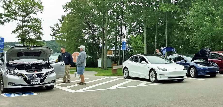 This year's East Hampton Clean Energy Task Force electric car show was held at Sears Park in East Hampton. Photo: Contributed Photo