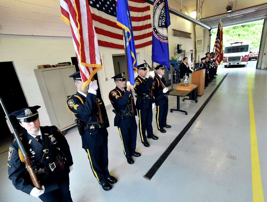 Milford, Connecticut -Tuesday, September 11, 2018: A brief ceremony to remember the events of Sept. 11, 2001 on Tuesday, Sept. 11, 2018, at the East Side Fire Station on New Haven Ave, in Milford with a ringing of the bells at 8:46 a.m., the time when the first plane struck New York's World Trade Center. Attack victims Michael Miller and Avnish Patel, both graduates of Live Oaks School, as well as Seth Morris, who was a student at Mathewson School, are remembered in the ceremony. Photo: Peter Hvizdak, Hearst Connecticut Media / New Haven Register