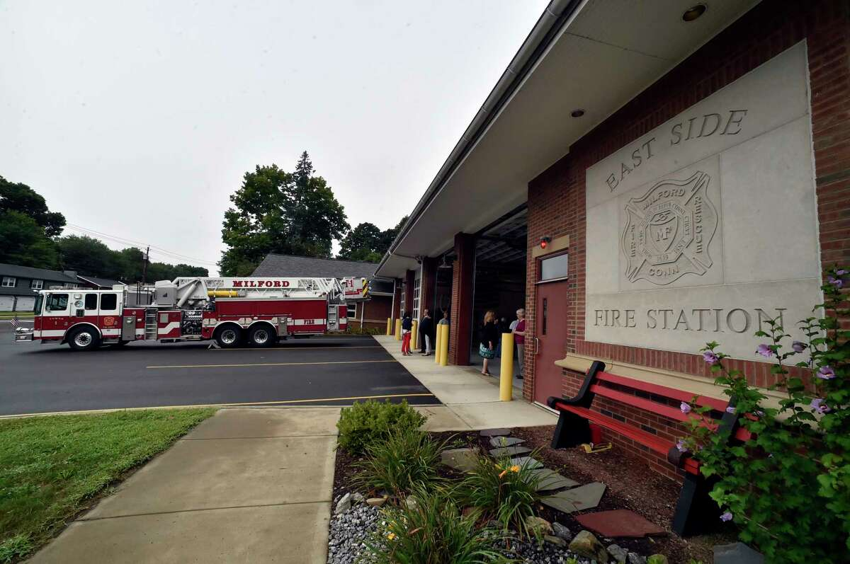 Milford, Connecticut -Tuesday, September 11, 2018: A brief ceremony to remember the events of Sept. 11, 2001 on Tuesday, Sept. 11, 2018, at the East Side Fire Station on New Haven Ave, in Milford with a ringing of the bells at 8:46 a.m., the time when the first plane struck New York's World Trade Center. Attack victims Michael Miller and Avnish Patel, both graduates of Live Oaks School, as well as Seth Morris, who was a student at Mathewson School, are remembered in the ceremony.