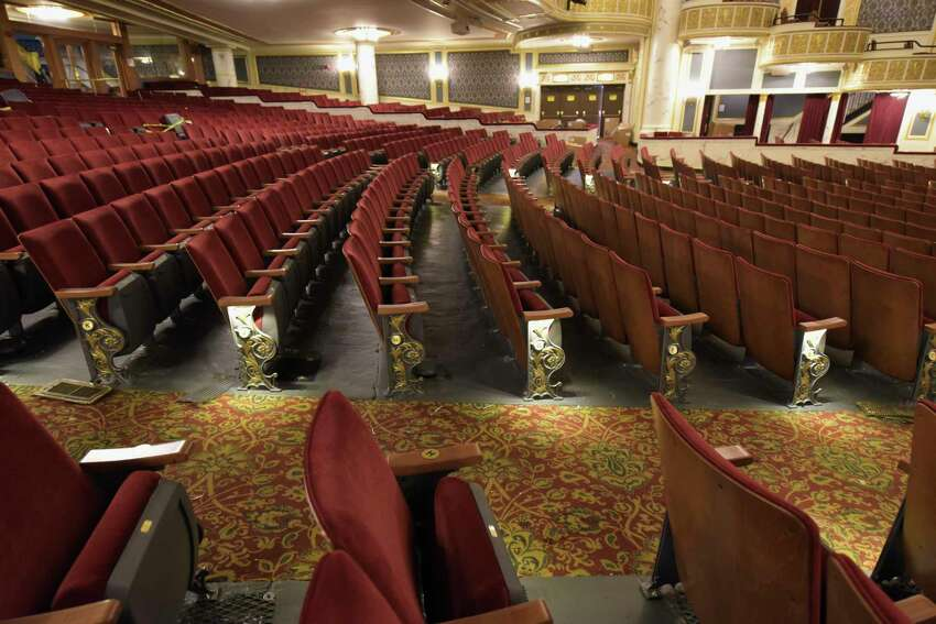 A view of the newly installed seats inside Proctors on Tuesday, Sept. 11, 2018, in Schenectady, N.Y. The new seats were part of a modernization project which included a new hearing loop. The loop will offer much improved clarity for persons with hearing loss who wear telecoil-or T-coil-equipped hearing aids. The new seats have wooden backs and charcoal grey and gold end standards facing the aisles and matching the carpet. The seats are wider, starting at 19 inches as opposed to old seats which were 17. (Paul Buckowski/Times Union)