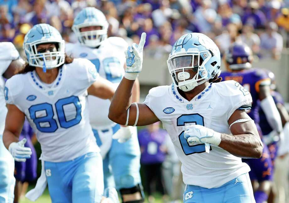North Carolina running back Jordon Brown (2) salutes the crowd after scoring a touchdown against the East Carolina during the first half of an NCAA college football game in Greenville, N.C., Saturday, Sept. 8, 2018. (AP Photo/Karl B DeBlaker) Photo: Karl B DeBlaker, Associated Press / Copyright 2018 The Associated Press. All rights reserved