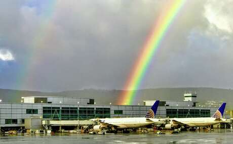 A rare spring rainbow over SFO's Terminal A Photo: Chris McGinnis