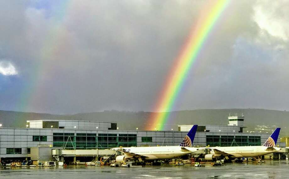 A rare spring rainbow over SFO's Terminal A Photo: Chris McGinnis
