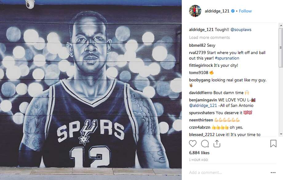 "Spur LaMarcus Aldridge was added to the Silver & Black-themed mural at Rudy's Seafood in August. He called it ""tough"" on social media. Photo: Instagram Screengrab"
