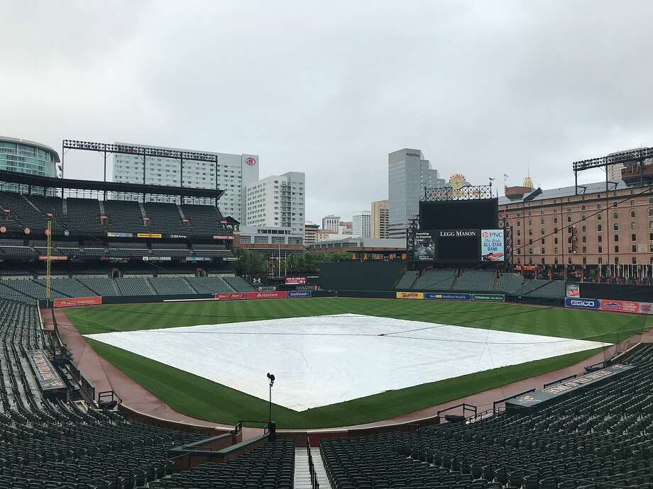 With rain beginning Tuesday afternoon, the tarp was on the field before the A's game at Camden Yards in Baltimore. Photo: Susan Slusser/The Chronicle