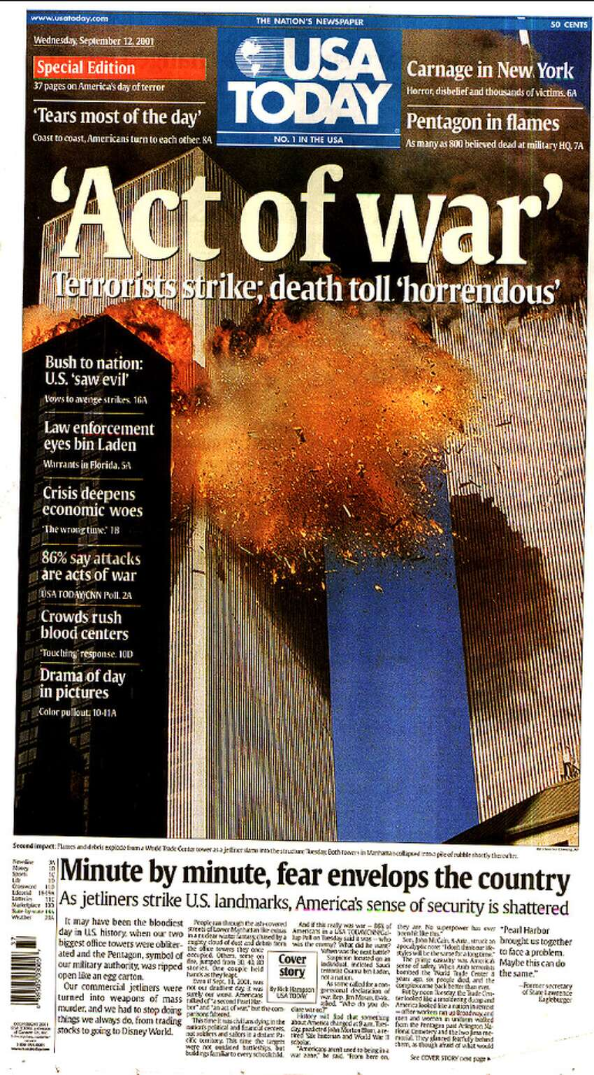 Click through the slideshow to view front pages of newspapers in America and around the world reporting on the Sept. 11, 2001 terror attack. The USA Today front page on Sept. 12, 2001.