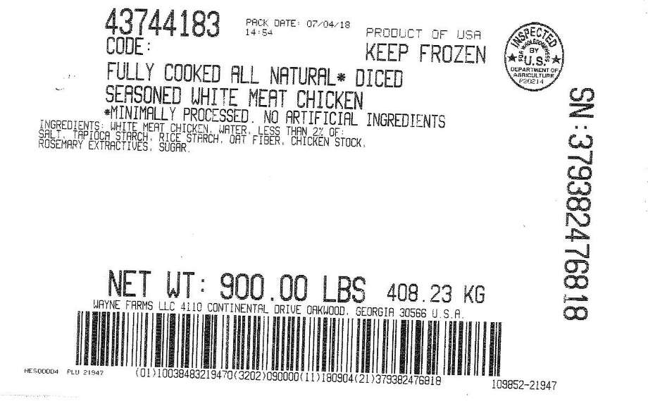 Wayne Farms, LLC, of Alabama, is yanking about 438,960 pounds of frozen, fully cooked chicken products from shelves, as the poultry might be contaminated with metal pieces, according to the U.S. Department of Agriculture's Food Safety and Inspection Service. Photo: Contributed / U.S. Department Of Agriculture