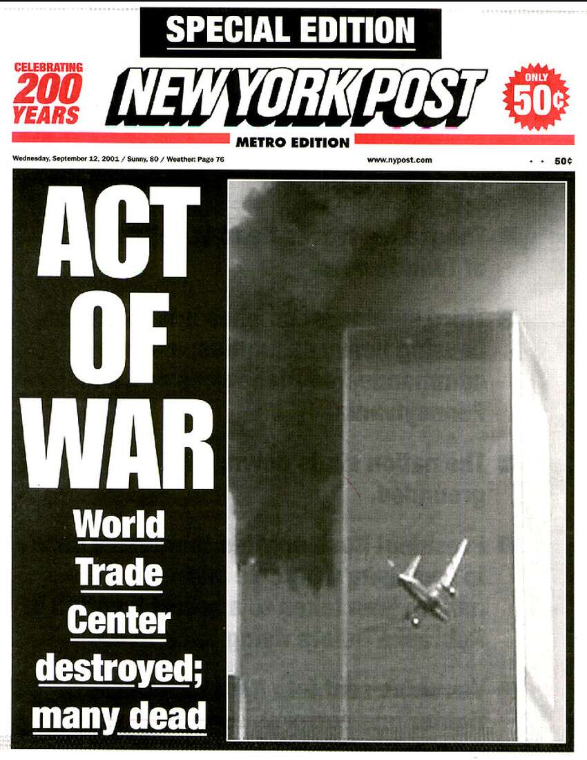 The New York Post front page on Sept. 12, 2001.