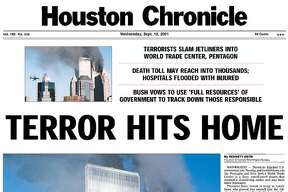 The Houston Chronicle front page on Sept. 12, 2001.