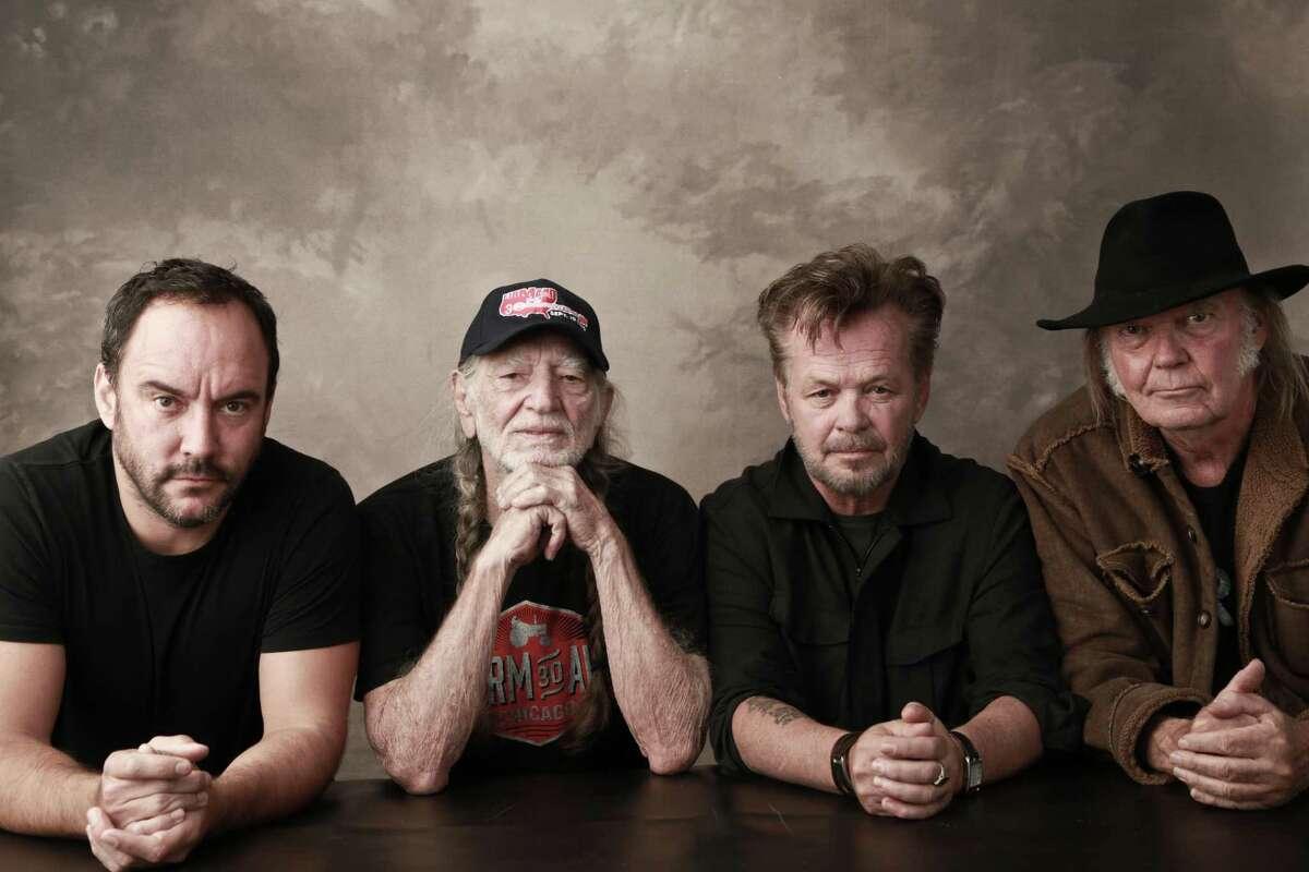 Farm Aid board artists Dave Matthews, Willie Nelson, John Mellencamp and Neil Young.